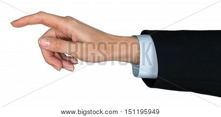 Businessman Finger Pressing an Imaginary Button / Pointing