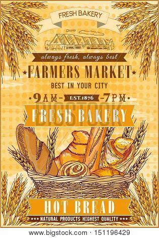 Bakery shop retro poster. Fresh bread. Basket of fresh bread and rolls. Bakery vector illustration