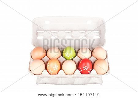 Ten Eggs In A Carton Package Isolated