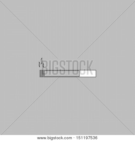 cigarette Simple line vector button. Thin line illustration icon. White outline symbol on grey background