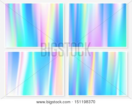 Hologram wallpaper set. Smooth multicolor textures. Hipster style backdrops. Trendy blurs. Modern vector illustration for web design fashion or printed products.