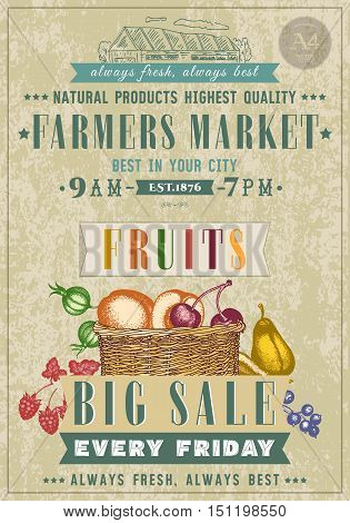 Farm market fruit shop vegan fruit shop retro poster basket with fresh fruit hand drawn vector