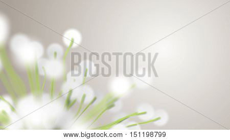 Spring or summer abstract season nature background with green plants and dept of field settings. 3D rendering.