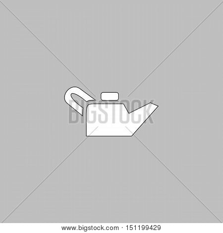 Engine oil Simple line vector button. Thin line illustration icon. White outline symbol on grey background