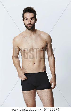 Man in black underwear shorts portrait - portrait