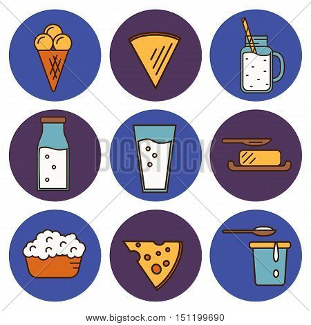 Dairy round icons set in line style design, vector illustration. Milk products symbols on color background. Traditional healthy products. Organic milk farming. Natural food