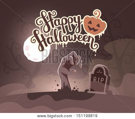 Vector Halloween Illustration Of Zombie Hand In A Graveyard With Headstone, Trees, Text, Pumpkin On