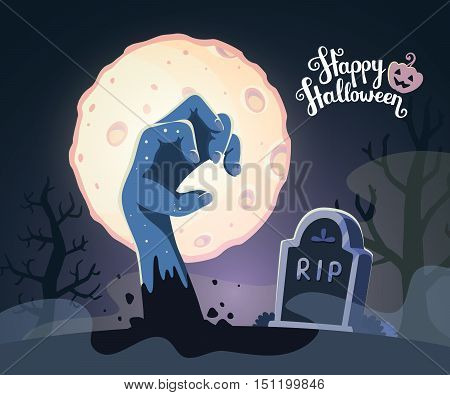Vector Halloween Illustration Of Zombie Hand In A Graveyard With Headstone, Big Full Moon, Trees, Te