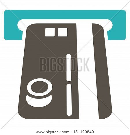 Bank ATM icon. Glyph style is bicolor flat iconic symbol with rounded angles, grey and cyan colors, white background.