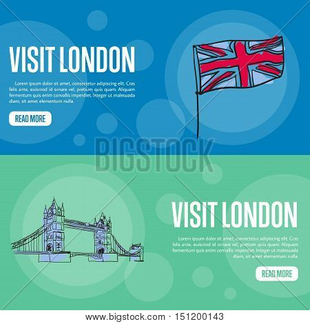 Visit London touristic banners. Union Jack flag and Tower bridge hand drawn vector illustrations on colored backgrounds. English famous national symbols. For travel company landing page design. England vector art. England travel symbols.