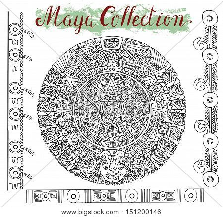 Old maya calendar with black ethnic patterns and graphic ornaments on white. Vector illustration and doodle drawing for design. Magic astrological symbol and mystic sign
