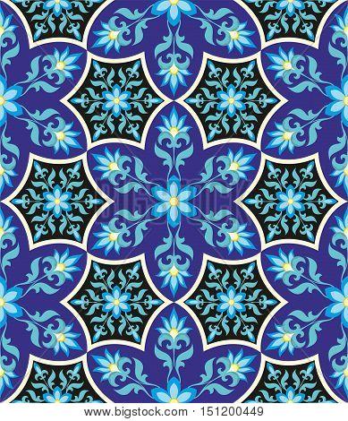 Arabesque Blue Pattern in Moorish style. Arab seamless texture. Element of design. Islamic  background. Oriental ornament