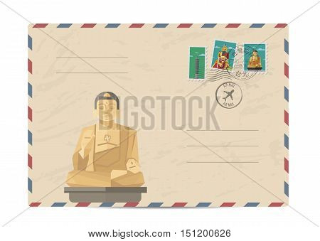 Taiwan vintage postal envelope with postage stamps and postmark vector illustration. Taiwanese Buddha landmark. Taiwanese air mail stamp. Taiwanese postal services. Envelope delivery. Travel on Taiwan concept. Explore Taiwan. Greetings from Taiwan concept