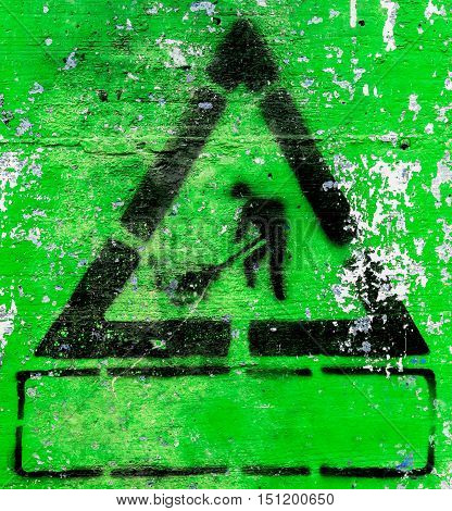 Under construction symbols grunge style with green background. It can be used as a poster backdrop design t-shirts. Fully editable.