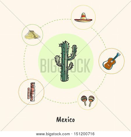 Attractive Mexico. Cactus colored doodle surrounded guitar, sombrero, pyramid, mayas monument, maracas hand drawn vector icons. Mexican cultural, culinary, nature symbols. Travel in Latin America