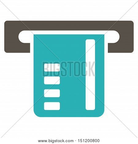 Ticket Terminal icon. Glyph style is bicolor flat iconic symbol with rounded angles, grey and cyan colors, white background.