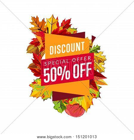 Autumn sale design template, vector illustration. Special offer, discount template banner with colorful leaves on white background. Advertisement about autumnal discount. Autumn sale sticker. Autumn discount sticker. Sale sign. Autumn sale label. Sale sti