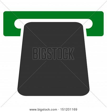 Bank ATM icon. Glyph style is bicolor flat iconic symbol with rounded angles, green and gray colors, white background.