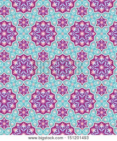 Arabesque. Blue Pattern in Moorish style. Arab seamless texture. Element of design. Islamic  background. Oriental ornament
