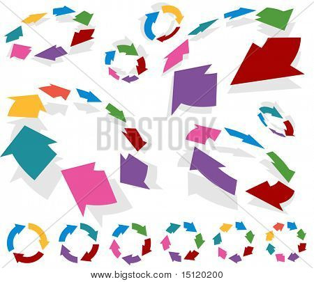 Circular arrow graph set isolated on a white background.