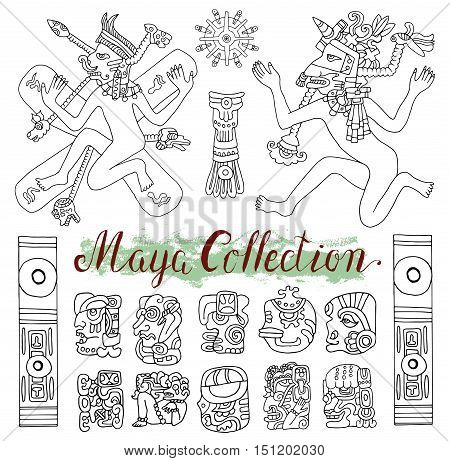 Vintage ethnic set with ancient maya symbols, people and tribal ornaments in old American indian style. Pattern vector illustration and doodle drawing for design. Ancient mystic glyphs and icons