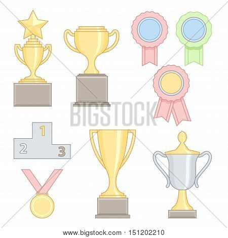 Set of award success and victory colorful line icons with trophies stars cups ribbons rosettes medals medallions wreath and a podium