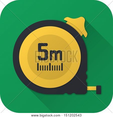Vector illustration. Toy construction tape measure in flat design with long shadow. Square shape icon in simple design. Icon vector size 1024 corner radius 180