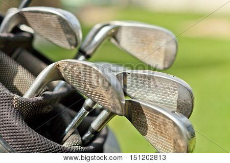 Golf Clubs in a Bag on Golf Course