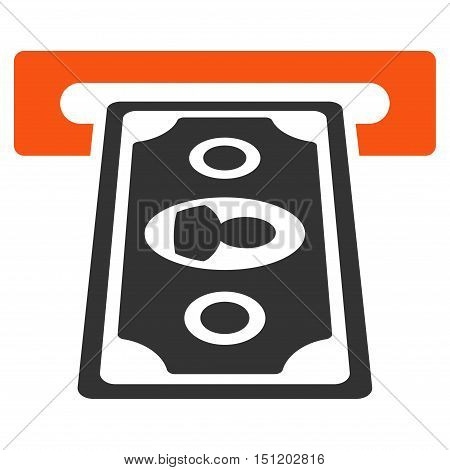 Cashpoint Terminal icon. Glyph style is bicolor flat iconic symbol with rounded angles, orange and gray colors, white background.