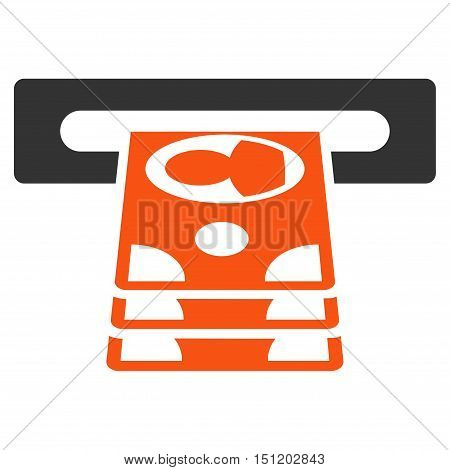 Cashpoint icon. Glyph style is bicolor flat iconic symbol with rounded angles, orange and gray colors, white background.