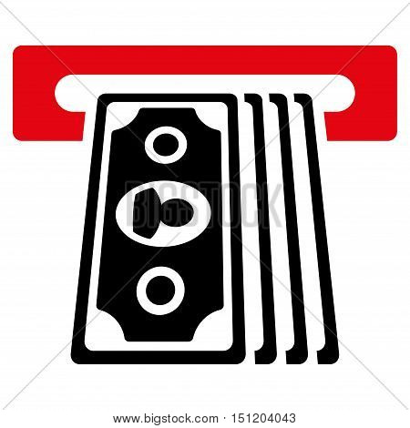 Cashpoint Terminal icon. Glyph style is bicolor flat iconic symbol with rounded angles, intensive red and black colors, white background.