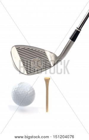 Closeup of Golf Club and Golf Ball and Tee