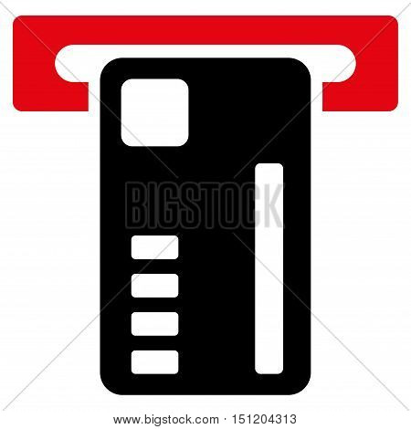 Ticket Machine icon. Glyph style is bicolor flat iconic symbol with rounded angles, intensive red and black colors, white background.