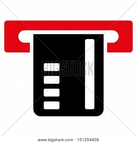 Ticket Terminal icon. Glyph style is bicolor flat iconic symbol with rounded angles intensive red and black colors white background.