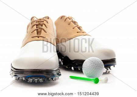 Pair of Golf Shoes with Ball and Tees