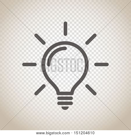 Light bulb vector icon on transparent background