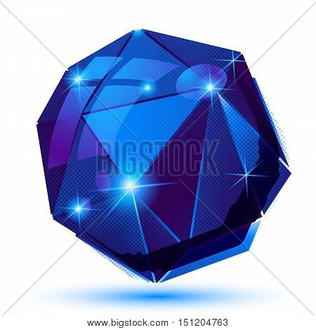 Plastic pixel blue 3d element sparkle dotted geometric object isolated on white background.