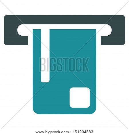 Bank ATM icon. Glyph style is bicolor flat iconic symbol with rounded angles, soft blue colors, white background.