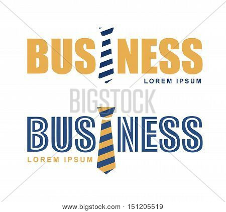 Abstract Logo tie. Vector logo business and tie. Blue and orange tie on white background isolated. Text business.