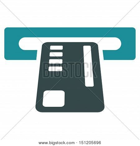 Ticket Machine icon. Glyph style is bicolor flat iconic symbol with rounded angles, soft blue colors, white background.