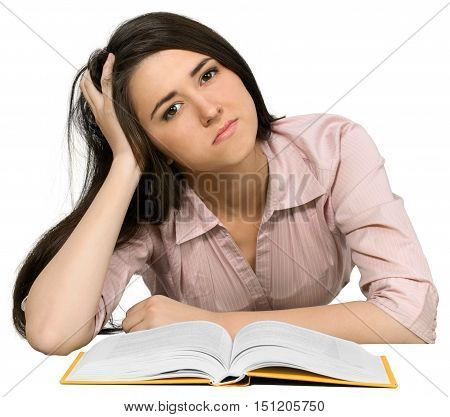 Bored Young Woman with Head Resting on Hand and Open Book - Isolated