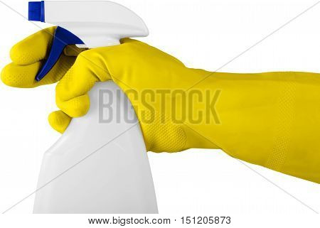 Hand in Rubber Glove Holding a Spray Bottle - Isolated