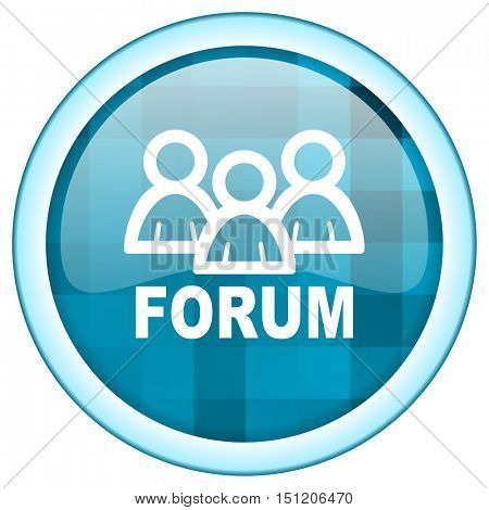 Blue circle vector forum icon. Round internet glossy social media button. Web design graphic element.
