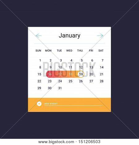 Calendar UI UX element. Calendar widget event. Vector illustration. Calendar daily template. Orange color.