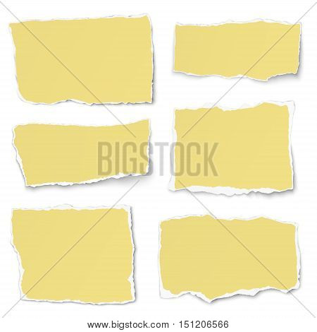 Set of yellow paper different shapes tears isolated on white background