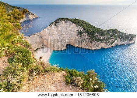 Panoramic view of Navagio Shipwreck beach, Zakynthos, Greece