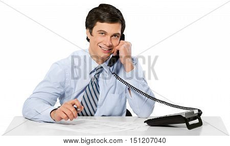 Smilling Businessman in Office Talking on the Phone - Isolated