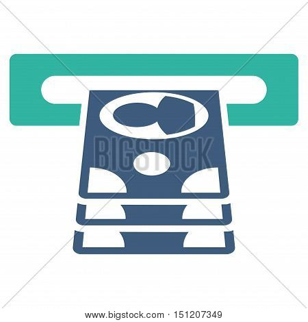 Cashpoint icon. Glyph style is bicolor flat iconic symbol with rounded angles, cobalt and cyan colors, white background.