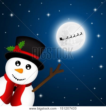 Snowman goodbye, waving Santa Claus flies reindeer on the background of the moon
