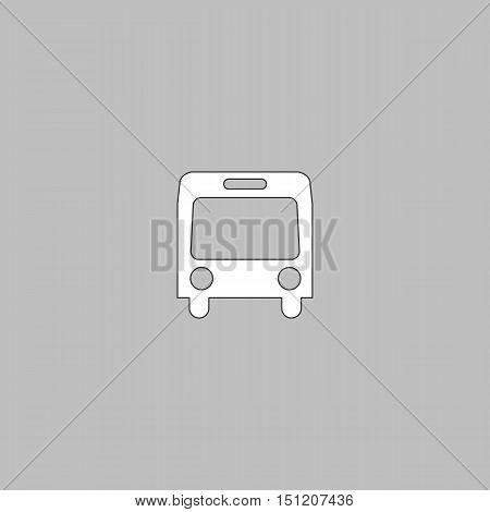 autobus Simple line vector button. Thin line illustration icon. White outline symbol on grey background